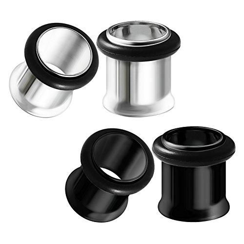 Flared Single (BIG GAUGES 2 Pairs 316L Surgical Steel Black Gauge Size 00g 9mm Single Flared Piercing Jewelry Earring Stretcher Plug Tunnel Lobe BG0619)