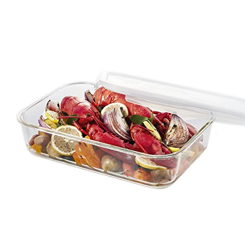 LOCK & LOCK GLASS, 15.2 Cup, Borosilicate Glass, Oven Safe, BPA Free, 100% Airtight, Baking Dish, Glass Rectangular Food Storage Container with Lid