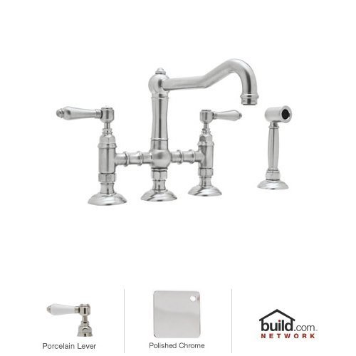 Rohl A1458LPWSAPC-2 Country Kitchen Three Leg Bridge Faucet with Porcelain Levers, Polished ()