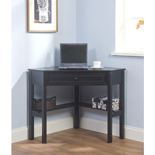 Simple Living Black Wood Corner Computer Desk With Drawer (1)