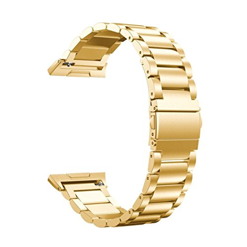 Sunward 2017 Fashion 1 Piece Solid Stainless Steel Accessory Watch Band Strap Metal Bands For Fitbit Ionic (Gold)