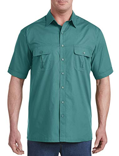 Harbor Bay by DXL Big and Tall Short-Sleeve Co-Pilot Sport Shirt, Deep Lake Green, 4XLT ()