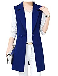 Keaac Women Sleeveless Blazer Fashion Lapel Open Front Long Vest