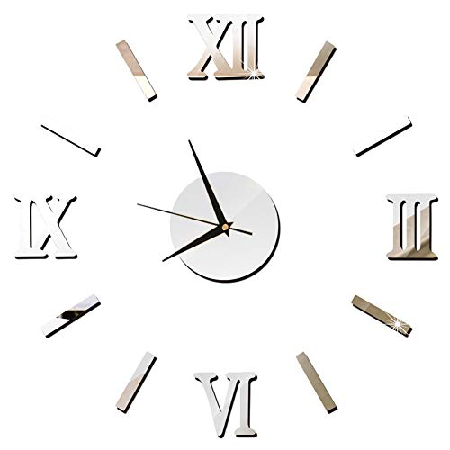 Ocamo DIY Wall Clock 3D Luxury Mirror Wall Clock Home Decor Decal Sticker Art Wall Clock Silver -