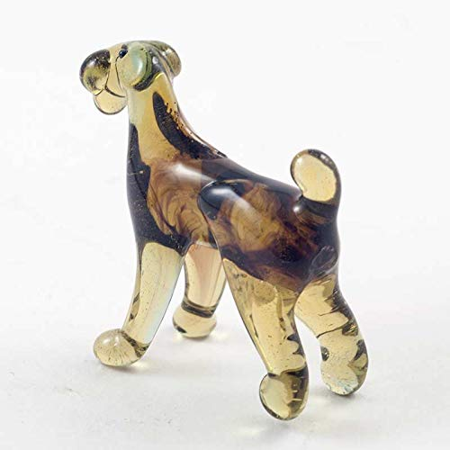 Dog Airedale Terrier Small Glass Figurine Hand-Blown Art Collectible Figures