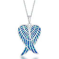 "Sterling Silver Created Blue Opal Double Angel Wings Heart with 18"" Chain"