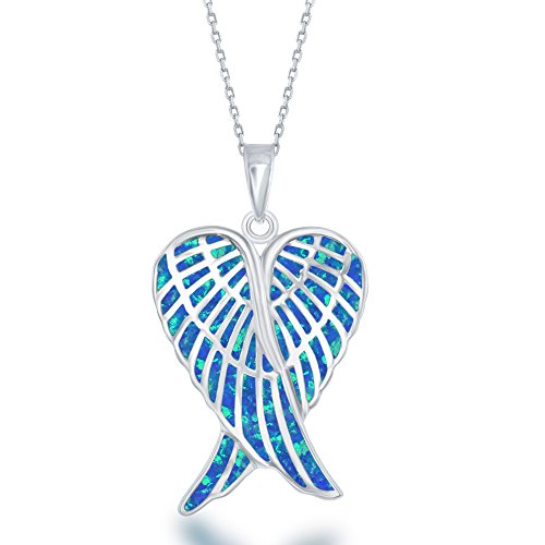 - Beaux Bijoux Sterling Silver Created Blue Opal Double Angel Wings Heart with 18