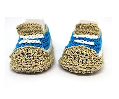 Botines de bebé, Zapatillas de bebé, Zapatillas de bebé de ganchillo, Zapatillas azules