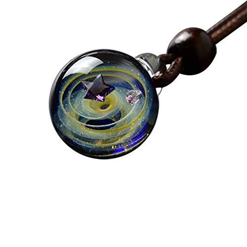 Kintaz Universe Planet Coloured Glaze Starry Sky Glass Ball Necklace Lady Jewelry (yellow-star) (Glaze Urn)