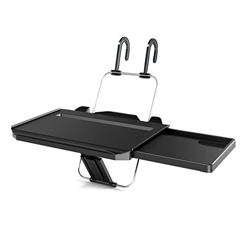 Computer Rack Accessories (Multi-functional Car Steering Wheel Vehicle Seat Portable Tray Car bracket Black Laptop Notebook Desk Table Car Dining Food Drink Desk Cup Holder with Extended Pull Type Small Table)