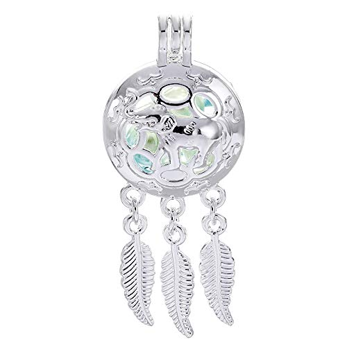 10pcs Lucky Elephant Wish Dream Catcher Pearl Cage Bright Silver Beads Cage Locket Pendant Jewelry Making-for Oyster Pearls, Essential Oil Diffuser, Fun Gifts (Lucky Elephant)