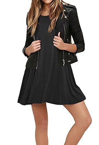 T Pockets Dresses 11 Shirt Casual Swing Black Women's PrinStory with vtCqwqHU