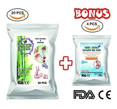 Foot Pads | Foot Pads (20pcs) and Cooling Gel Pads (4 pcs for Free Bonus) – 100% Natural & Organic 2018 New | FDA Certified | Sleep Better, Remove Impurities, ()