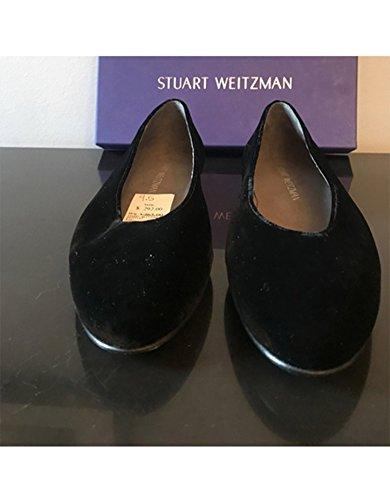 Stuart Weitzman Womens Chicflat Balletto Nero Velluto Piatto
