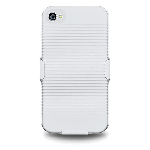 Amzer AMZ93315 Shellster Case Cover for iPhone 4, iPhone 4S, iPhone 4 CDMA (Fits AT&T, Sprint and Verizon iPhone 4/4S) 1 Pack - Retail Packaging - White