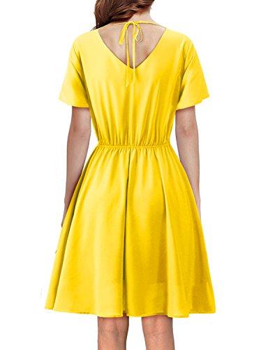 Regna X BOHO for women's basic cocktail fit and flare yellow medium chiffon midi knee length dress,Yellow,Medium