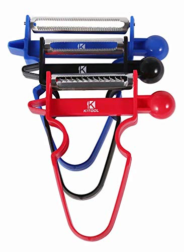 KITOOL Upgraded Magic Trio Peeler (Set of 3), Vegetable Peeler, Stainless Steel Blades with Non-Slip Handles Peeler For Potato Fruit