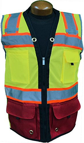 (SHINE BRIGHT SV544RD | Premium Surveyor's High Visibility Safety Vest | 2 Tone Lime/Cardinal Red with Reflective Strips |ANSI CLASS 2 | Soft and Breathable |Heavy Duty Zipper Front | Size XL)