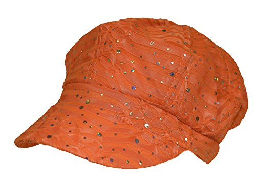 Orange Sparkle Newsboy Cap (Sparkle Newsboy Cap)