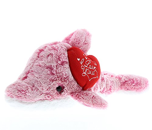 Dollibu Pink Dolphin I Love You Valentines Stuffed Animal - Heart Message - 14 inch - Wedding, Anniversary, Date Night, Long Distance, Get Well Gift for Her, Him, Kids - - Valentines Date