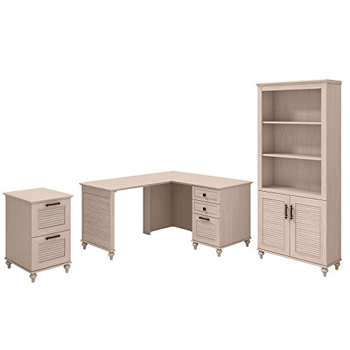 kathy ireland Home by Bush Furniture Volcano Dusk 51W x 57D L Shaped Desk with Bookcase and File Cabinet in Driftwood Dreams