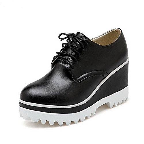 VogueZone009 Women's Round Closed Toe Lace-up PU Solid High-Heels Pumps-Shoes Black sxbfVn2W