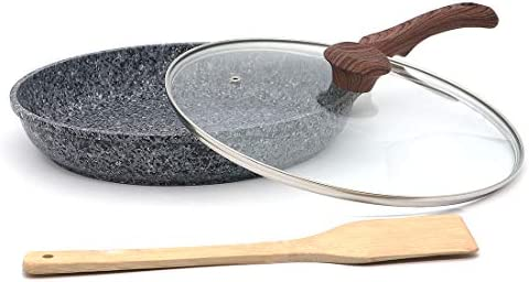 Indoor Ultima 11-inch Earth stone granite frying pan, everyday nonstick deep pan 100 PFOA and APEO Free with glass lid and wooden shovel Set of 3 piece