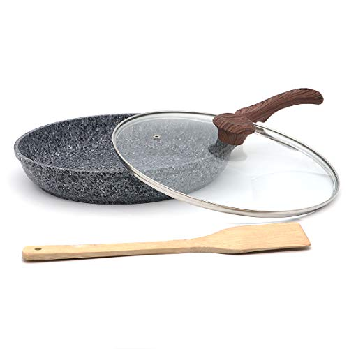 - Indoor Ultima 11-inch Earth stone/granite frying pan, everyday nonstick deep pan (100% PFOA and APEO Free) with glass lid and wooden shovel (Set of 3 piece)