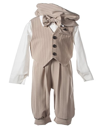 (Toddler Boys Knicker Set with Vest and Hat - Vintage Sand/Black Stripe)