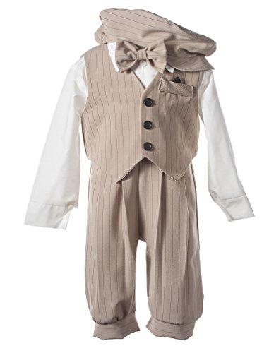 Infant Toddler Knicker Set with Vest and Hat - Vintage Sand/Black Stripe 18M