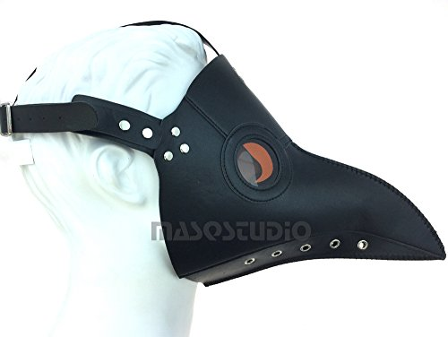 Black Plague Mask (The Plague Doctor Bird Mask Halloween Cosplay Masquerade Haunted House Party Art Wall Deco (Black))