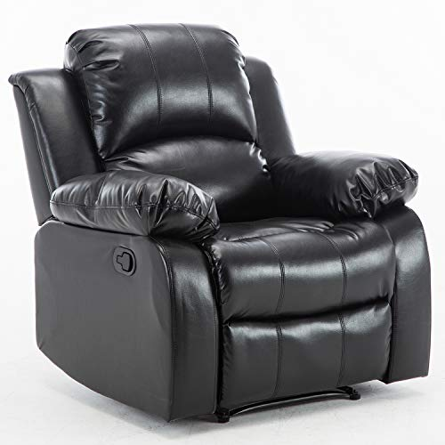 Bonzy Home Air Leather Recliner Chair Overstuffed Heavy Duty Recliner - Faux Leather Home Theater Seating - Manual Bedroom & Living Room Chair Reclining Sofa - Recliner Leather