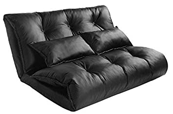 Merax Pu Leather Foldable Modern Leisure Bed Video Gaming Sofa with Two Pillows, Black
