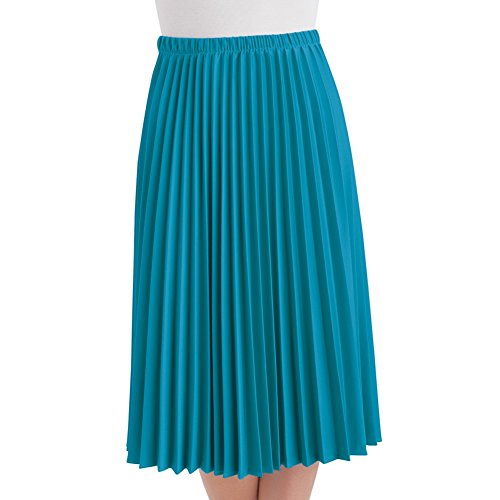 Women's Classic Pleated Mid-Length Jersey Knit Midi Skirt with Comfortable Elastic Waistband, Turquoise, Large - Made in The USA