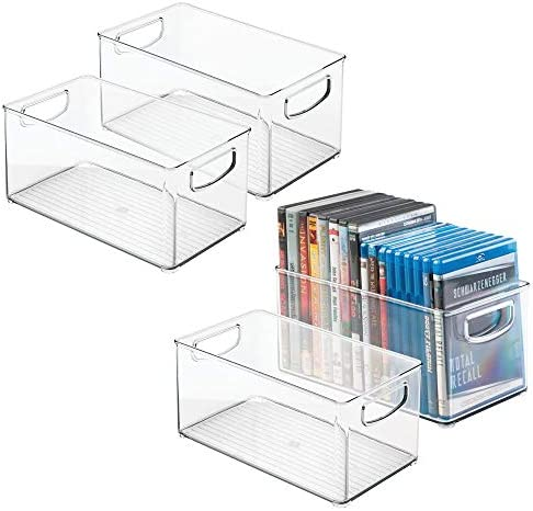 mDesign Plastic Stackable Household Storage Organizer Container Bin Box with Handles – for Media Consoles, Closets, Cabinets – Holds DVD s, Video Games, Gaming Accessories, Head Sets – 4 Pack – Clear