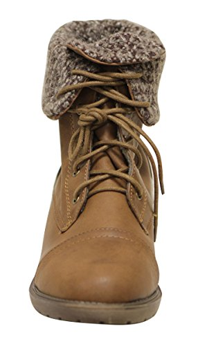 Anna Tori-11 Womens round toe mid calf lace up woolen lining military combat comfort PU boots Brown Vac19r