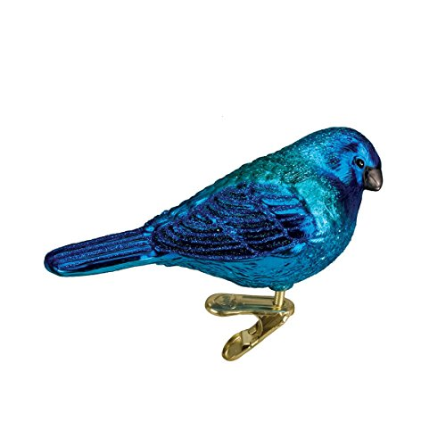 Old World Christmas Ornaments: Indigo Bunting Glass Blown Ornaments for Christmas Tree