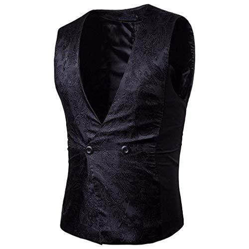 Boutonnage Business À Pour Blazer Schwarz Gentleman Costume Double Fit Gilet De V Vest Homme Slim Essentiel gPqRU