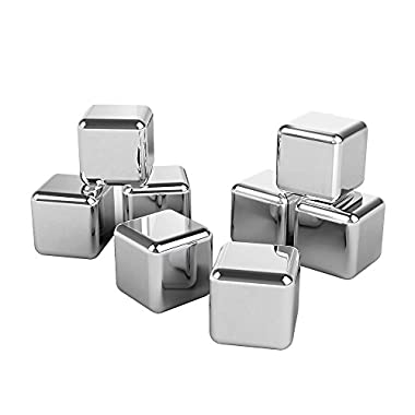 Whiskey Stones, TaoTronics Stainless Steel Reusable Ice Cubes for Wine, Chilling Rocks ( Set of 8, Rubber Tip Tongs, Ice Tray with Lid - FDA Approved & BPA Free )