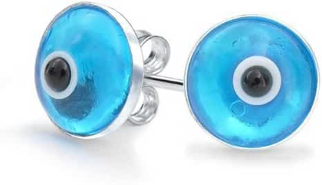 Bling Jewelry 925 Sterling Silver Blue Evil Eye Stud Earrings