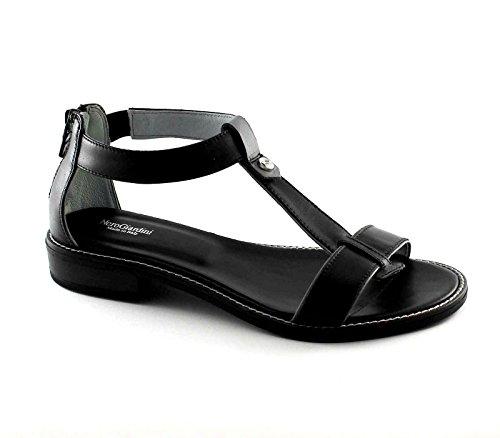 NEGRO JARDINES 17731 Negro mujer de las sandalias de los zapatos de piel con cremallera Nero