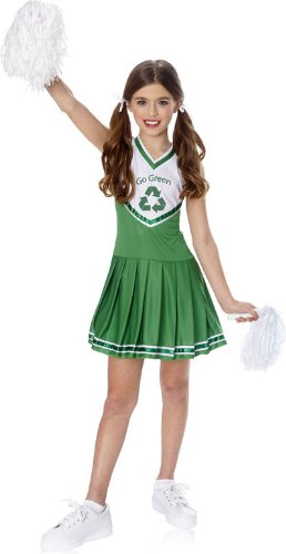 Go Green Costume Ideas (Child LG (12-14)- GREEN/WHT- Go Green Cheerleader Costume)