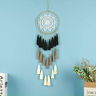 Jewh Gift Tassel & Lace Dreamcatcher Wind Chimes Tassel Pendant Big Dream Catcher - Home Wall Hanging Decor (Black Gradual)