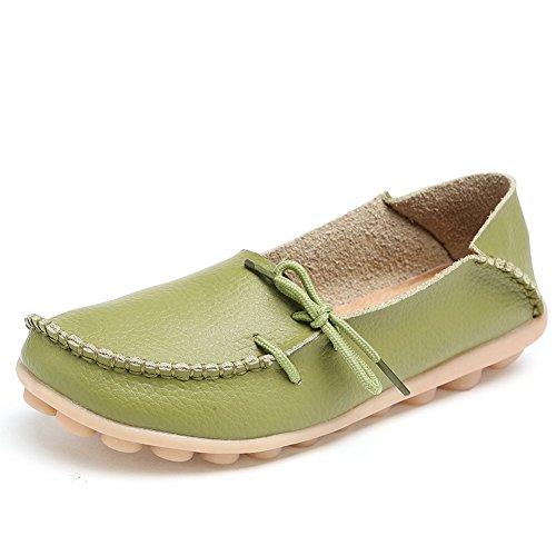 Amerikanska Trender Kvinna Läder Spets-up Skor Loafers Toffel Platta Pumpar Slip-on Gräsgrön