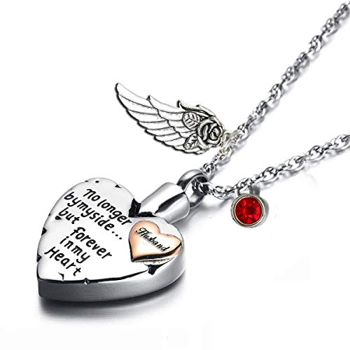 PREKIAR Heart Cremation Urn Necklace for Ashes Angel Wing Jewelry Memorial Pendant and 12 PCS Birthstones No Longer by My Side But Forever in My Heart (Husband)