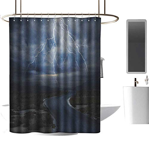 Qenuan Quality Fabric Shower Curtain Nature,Thunderstorm Over Road Vibrant Strong Beam Before The Sky Blows Weather Image, Dark Blue Grey,Hand Drawing Effect Fabric Shower Curtains 70