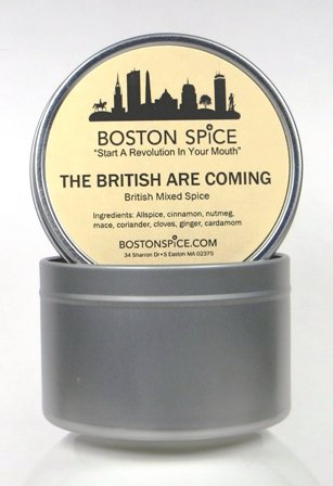 Mixed Spice - Boston Spice The British Are Coming English Mixed Spice Pudding Apple Pumpkin Pie Spice Blend For Baking Cakes Donuts Pastry Desserts Coffee Hot Chocolate (Approx. 1 Cup of Spice In Tin)