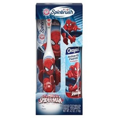 Spider-Man Spinbrush Battery Powered Toothbrush Plus 4.2 oz. Orajel Toothpaste