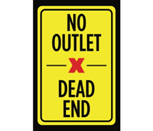 No Outlet Dead End Print Yellow Black Red Picture Symbol Notice Driving Road Street Outdoor Sign