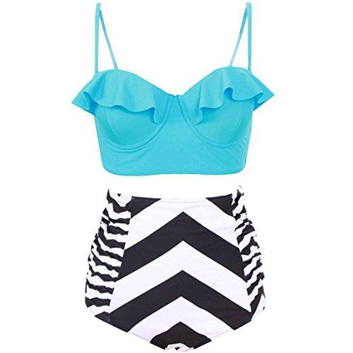 FY Mujeres Bikini Set Retro Stripe Mujeres traje de baño de alta Waisted Trajes de baño Swim Halter Push Up Swimwear